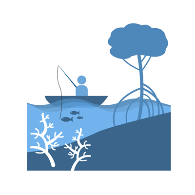 Icon showing a landscape of someone fishing with a mangrove tree and coral