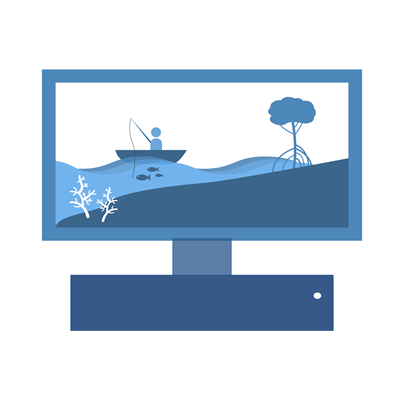 Icon showing a computer screen with a landscape of someone fishing with a mangrove tree and coral
