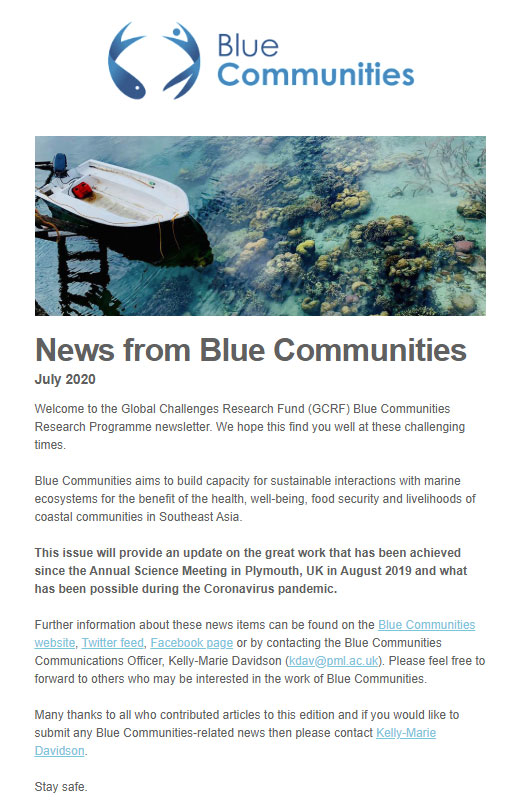 Blue communities - Newsletter screenshot